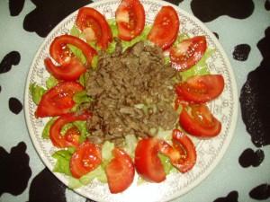 recette de cuisine à base de viande et crudité