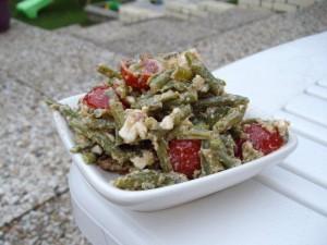 recette de crudités à la fêta et aux haricots sauce tomate