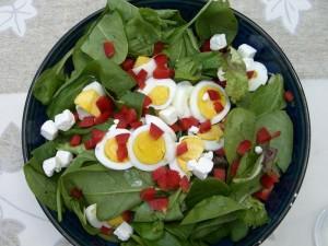 recette de crudités aux épinards et poulet